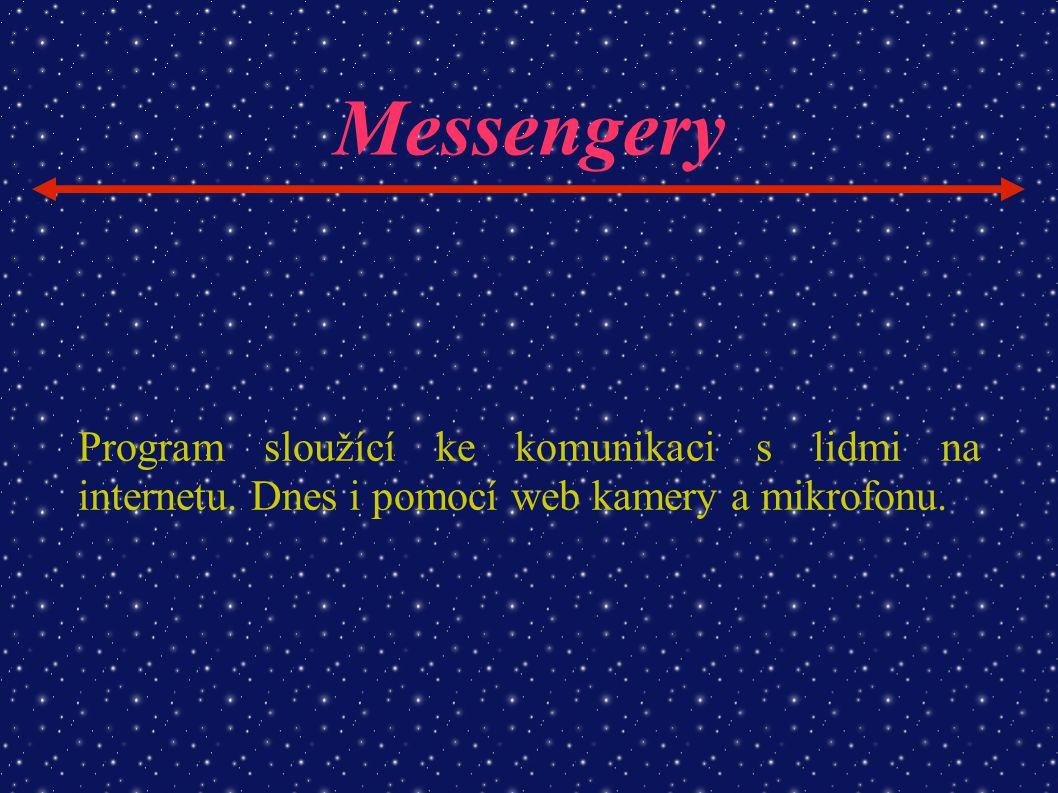 Messengery Program sloužící ke komunikaci s lidmi na internetu.