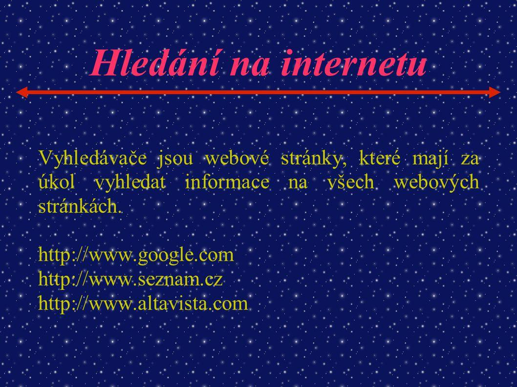 Hledání na internetu Vyhledávače jsou webové stránky, které mají za úkol vyhledat informace na všech webových stránkách.