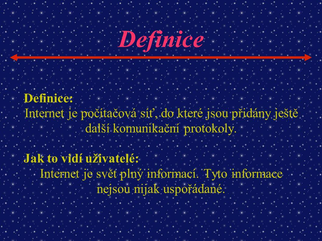 Definice Definice: Internet je počítačová síť, do které jsou přidány ještě další komunikační protokoly.