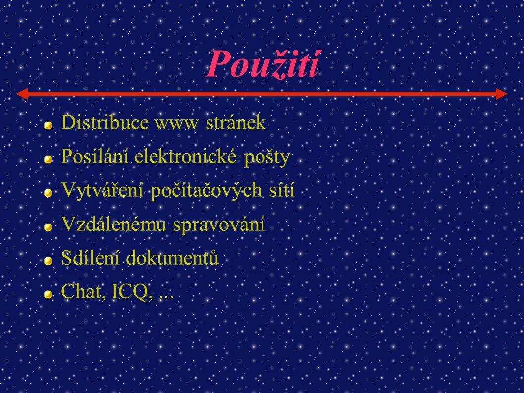 Použití Distribuce www stránek Posílání elektronické pošty