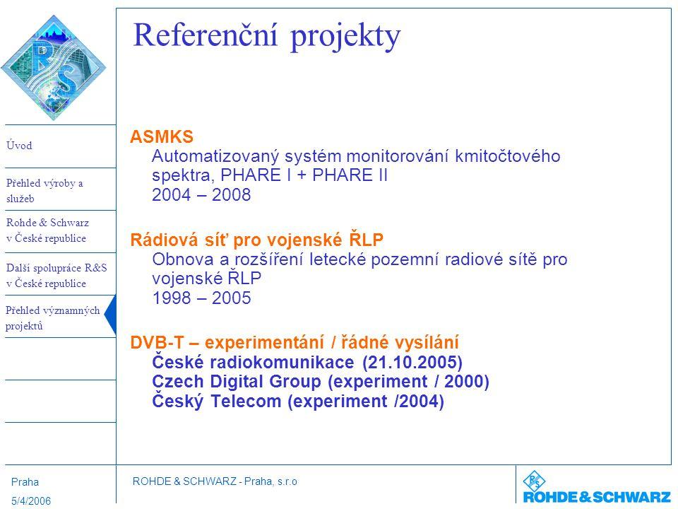 Referenční projekty ASMKS Automatizovaný systém monitorování kmitočtového spektra, PHARE I + PHARE II 2004 – 2008.