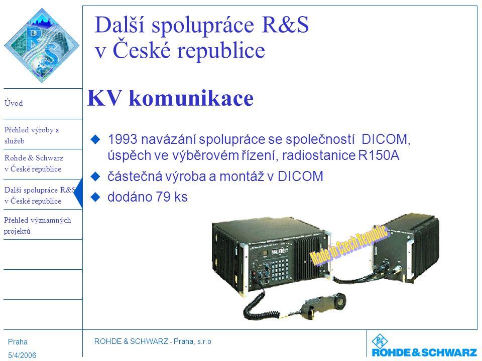 Další spolupráce R&S v České republice