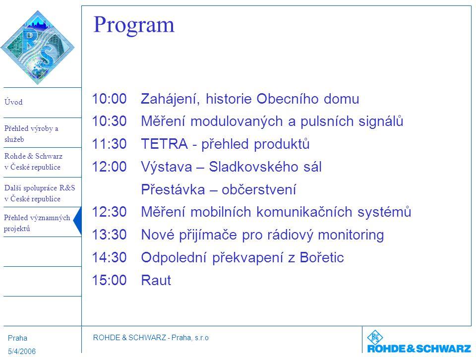 Program 10:00 Zahájení, historie Obecního domu