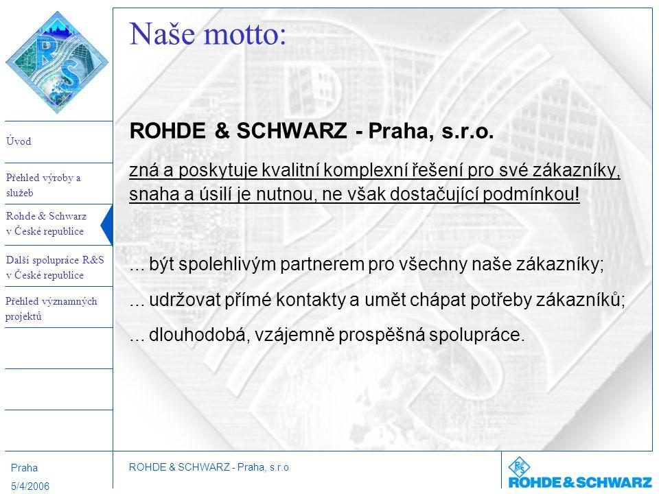 Naše motto: ROHDE & SCHWARZ - Praha, s.r.o.