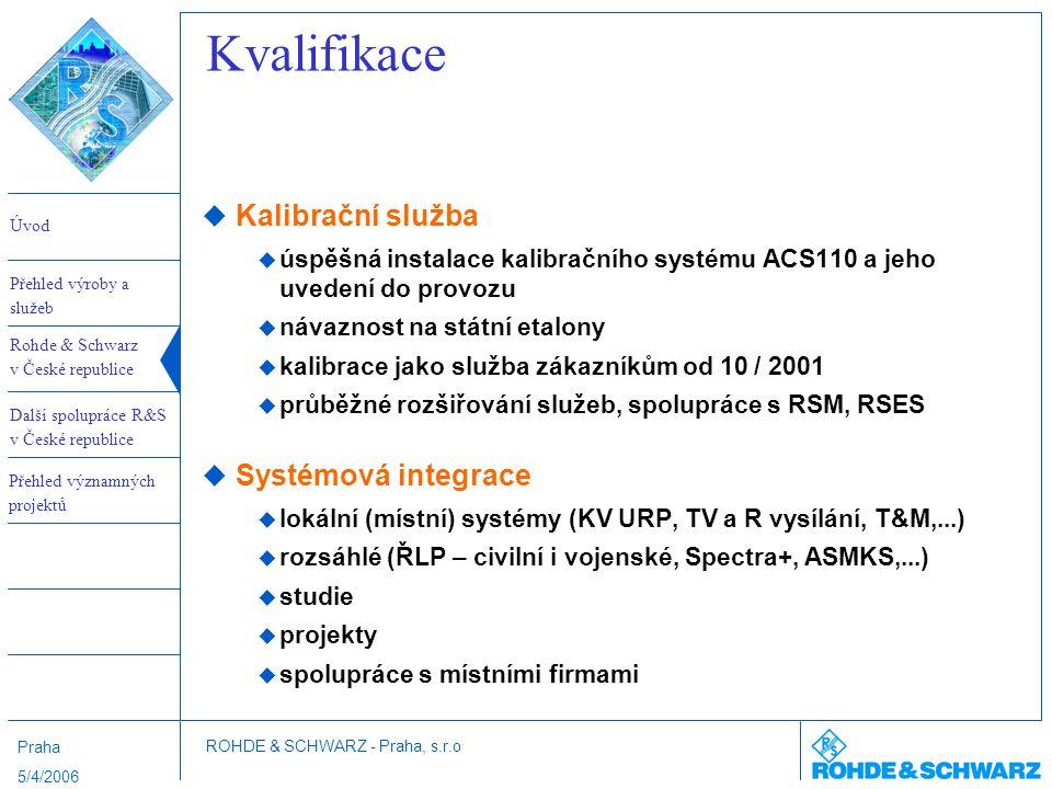 Kvalifikace Kalibrační služba Systémová integrace