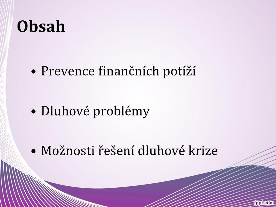 Obsah Prevence finančních potíží Dluhové problémy