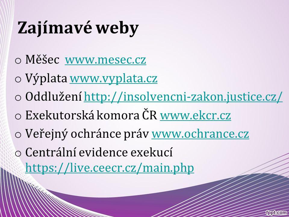 Zajímavé weby Měšec www.mesec.cz Výplata www.vyplata.cz
