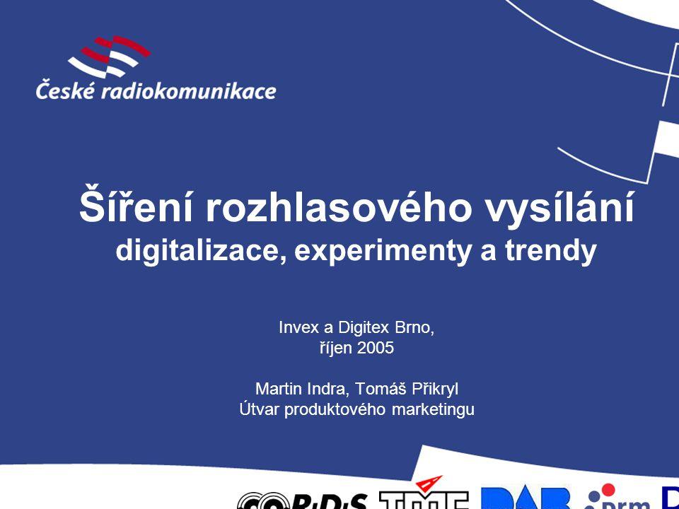 Šíření rozhlasového vysílání digitalizace, experimenty a trendy Invex a Digitex Brno, říjen 2005 Martin Indra, Tomáš Přikryl Útvar produktového marketingu