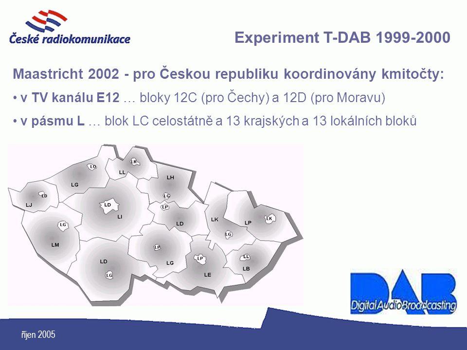 Experiment T-DAB 1999-2000 Maastricht 2002 - pro Českou republiku koordinovány kmitočty: v TV kanálu E12 … bloky 12C (pro Čechy) a 12D (pro Moravu)