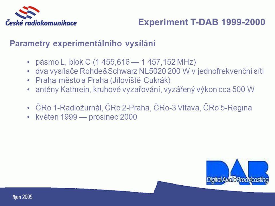 Experiment T-DAB 1999-2000 Parametry experimentálního vysílání