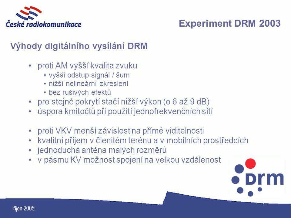 Experiment DRM 2003 Výhody digitálního vysílání DRM