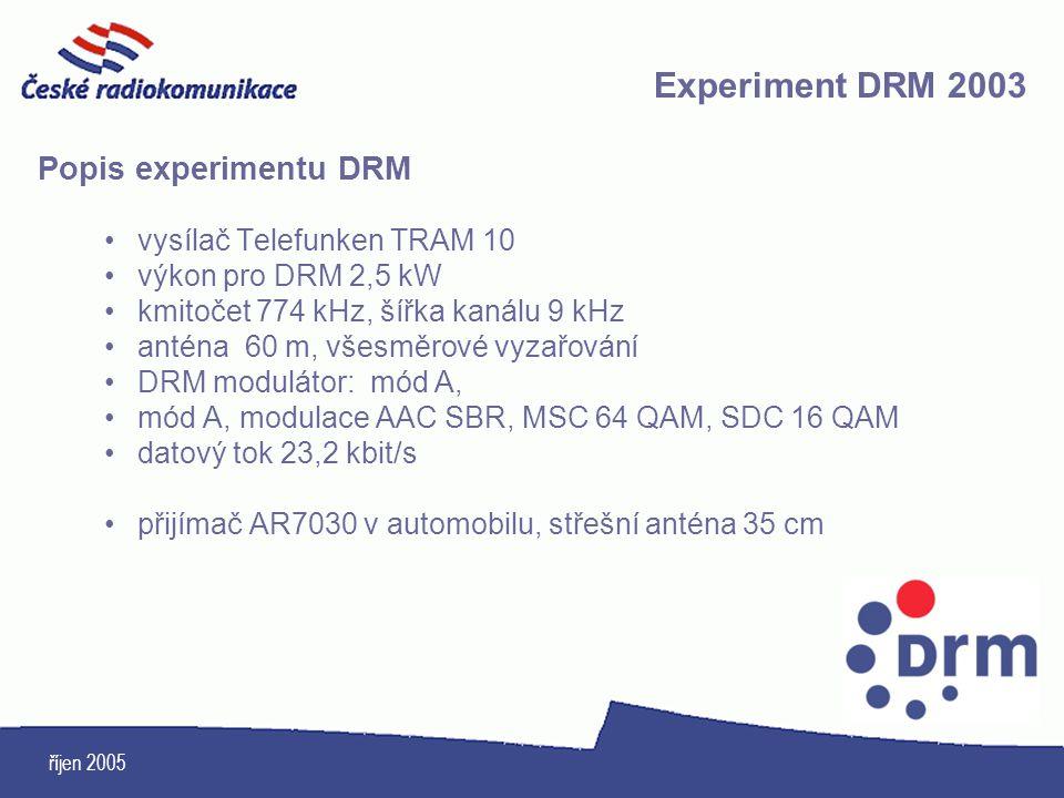 Experiment DRM 2003 Popis experimentu DRM vysílač Telefunken TRAM 10