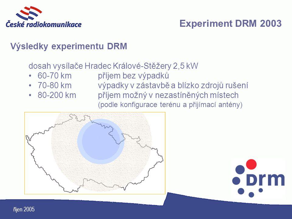 Experiment DRM 2003 Výsledky experimentu DRM