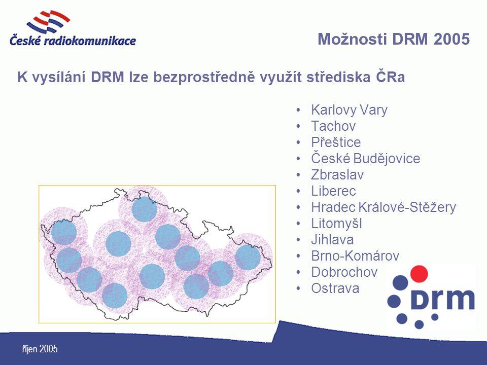 Možnosti DRM 2005 K vysílání DRM lze bezprostředně využít střediska ČRa. Karlovy Vary. Tachov. Přeštice.