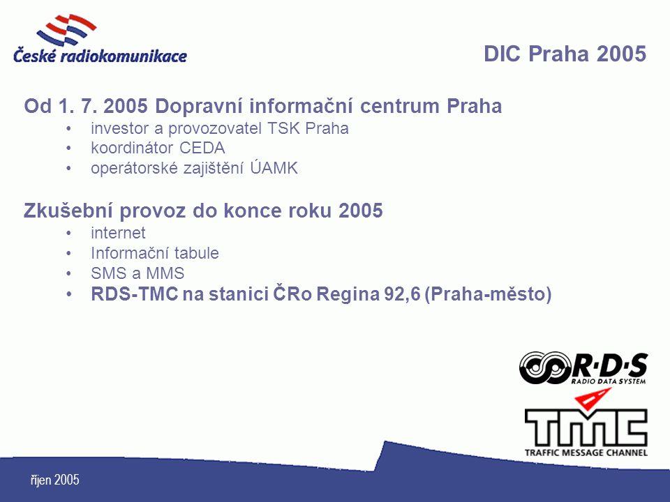 DIC Praha 2005 Od 1. 7. 2005 Dopravní informační centrum Praha