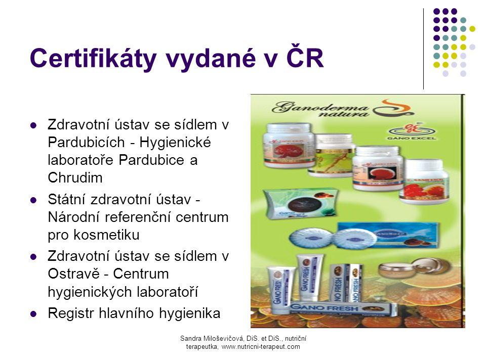 Certifikáty vydané v ČR
