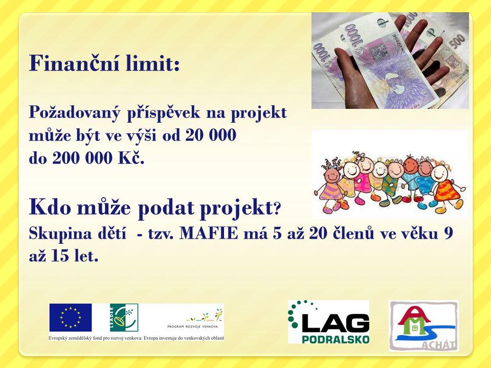 Finanční limit: Požadovaný příspěvek na projekt může být ve výši od 20 000 do 200 000 Kč.