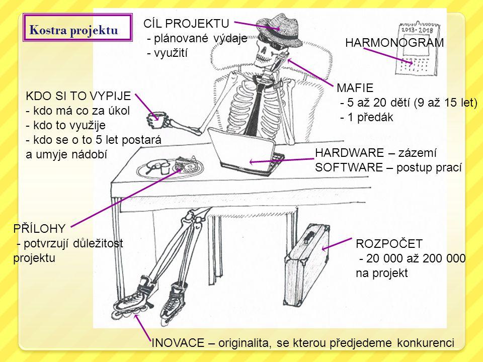 Kostra projektu CÍL PROJEKTU - plánované výdaje - využití HARMONOGRAM