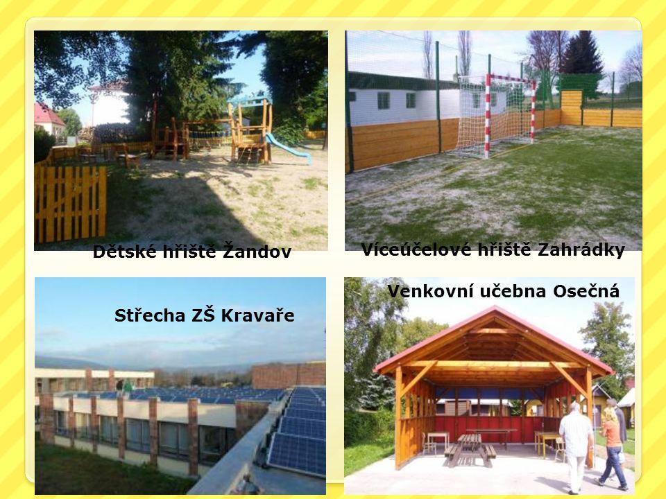 Dětské hřiště Žandov Víceúčelové hřiště Zahrádky Venkovní učebna Osečná Střecha ZŠ Kravaře