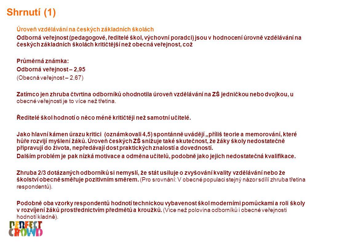 Shrnutí (2) Finanční ohodnocení učitelů za špatné (4,5) považuje ¾ odborníků za špatné. (V obecné populaci 32 % dotázaných).
