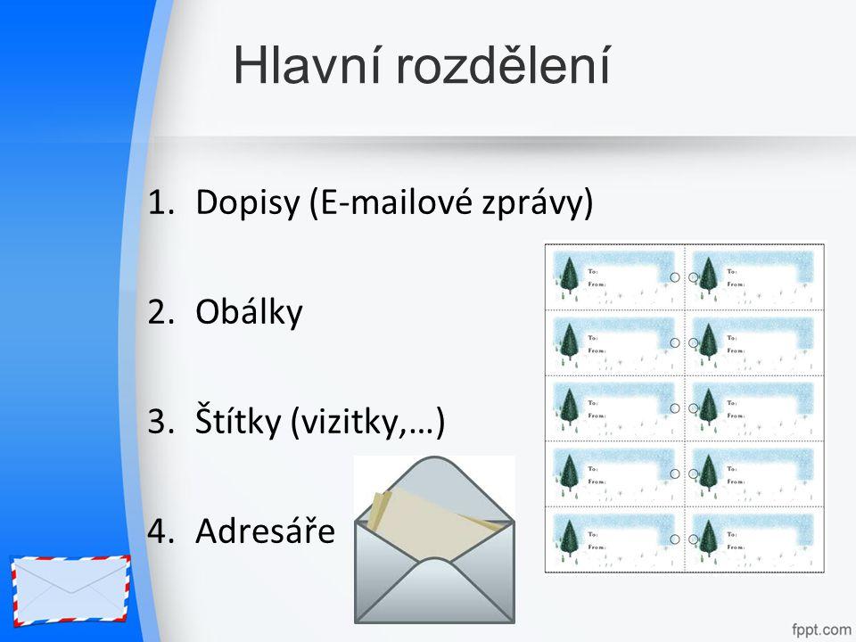 Hlavní rozdělení Dopisy (E-mailové zprávy) Obálky Štítky (vizitky,…)