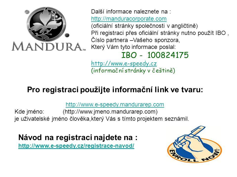 Pro registraci použijte informační link ve tvaru: