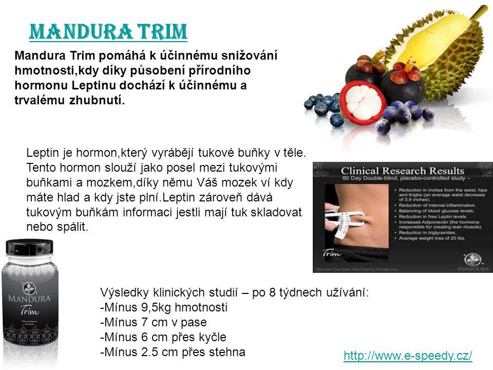 MANDURA Trim Mandura Trim pomáhá k účinnému snižování hmotnosti,kdy díky působení přírodního hormonu Leptinu dochází k účinnému a trvalému zhubnutí.