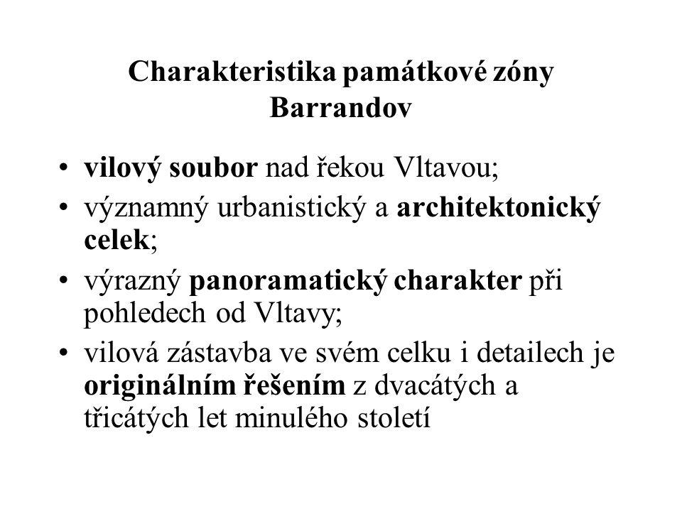 Charakteristika památkové zóny Barrandov