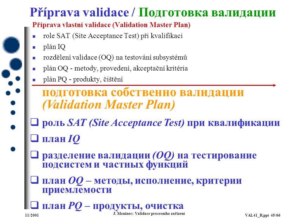 Příprava validace / Подготовка валидации