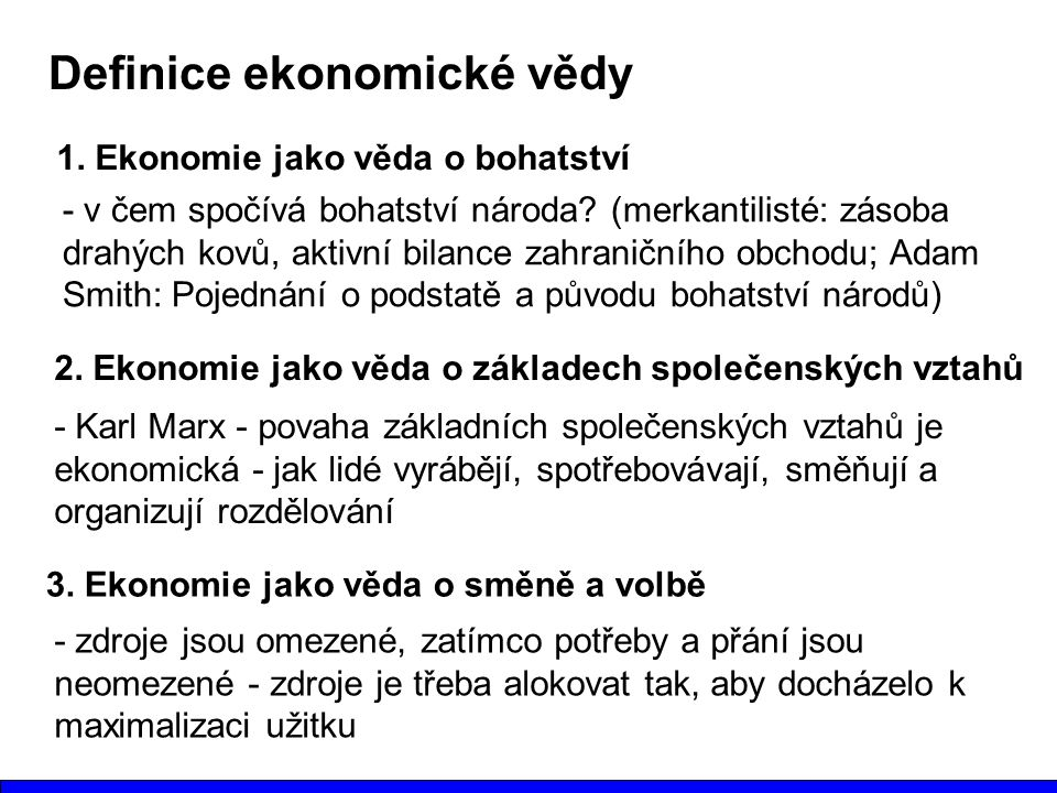 Definice ekonomické vědy