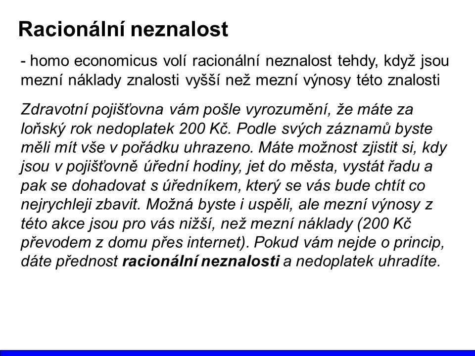 Racionální neznalost - homo economicus volí racionální neznalost tehdy, když jsou mezní náklady znalosti vyšší než mezní výnosy této znalosti.