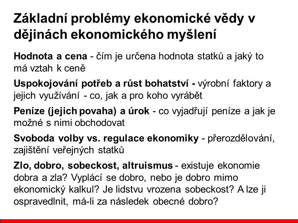 Základní problémy ekonomické vědy v dějinách ekonomického myšlení