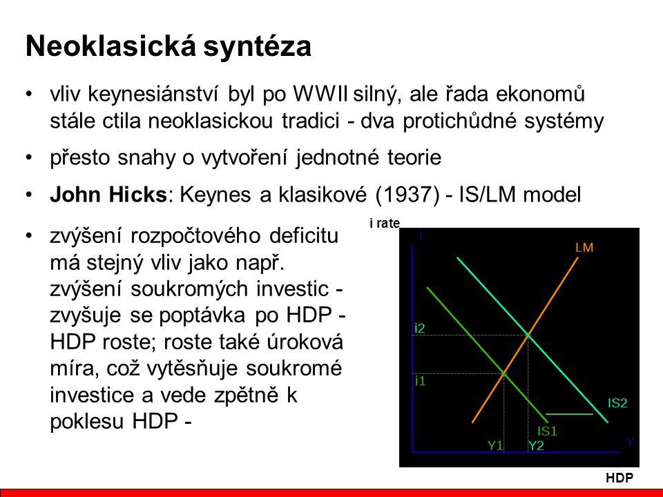 Neoklasická syntéza vliv keynesiánství byl po WWII silný, ale řada ekonomů stále ctila neoklasickou tradici - dva protichůdné systémy.