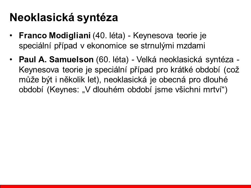 Neoklasická syntéza Franco Modigliani (40. léta) - Keynesova teorie je speciální případ v ekonomice se strnulými mzdami.