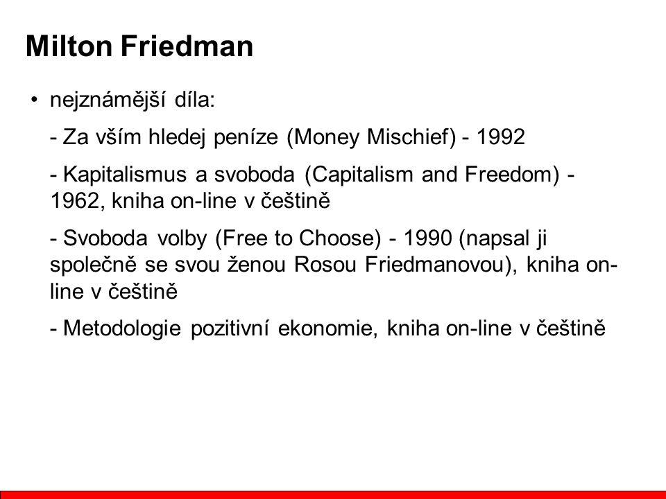 Milton Friedman nejznámější díla: