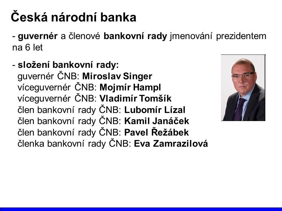 Česká národní banka - guvernér a členové bankovní rady jmenování prezidentem na 6 let. - složení bankovní rady: