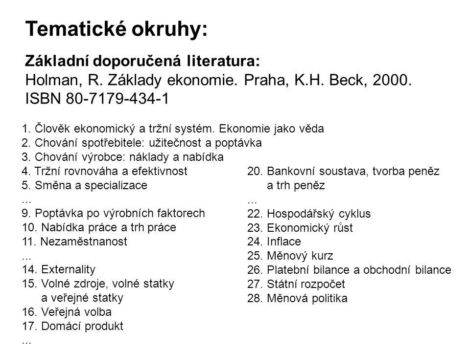 Tematické okruhy: Základní doporučená literatura: