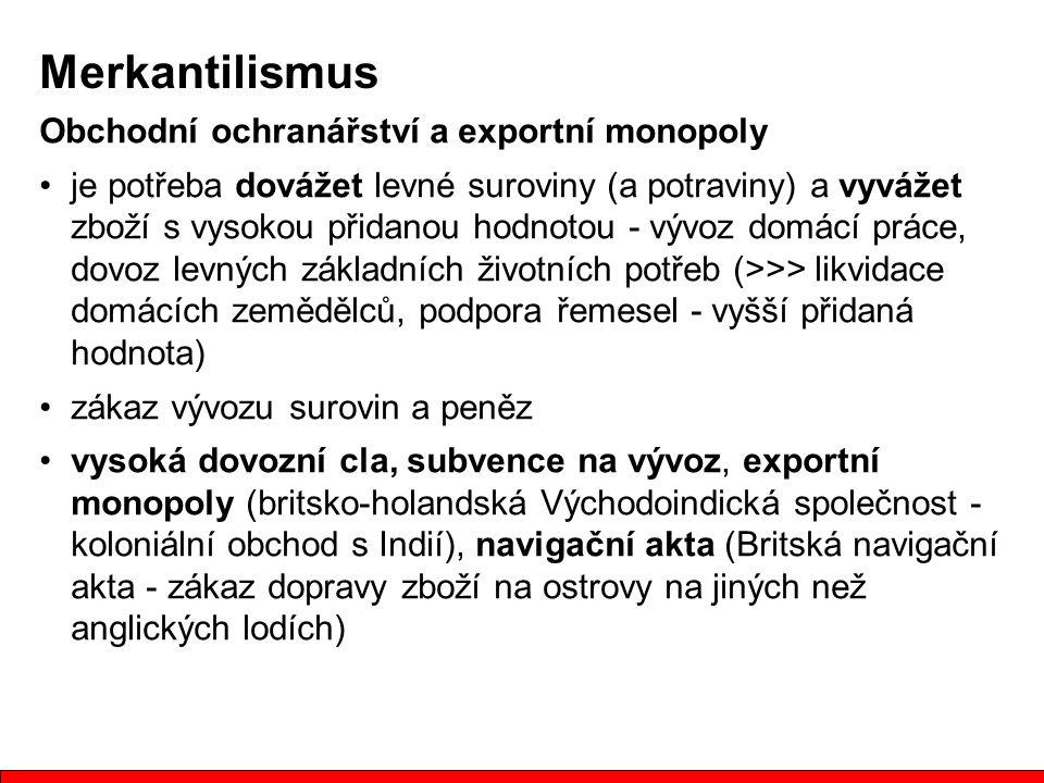 Merkantilismus Obchodní ochranářství a exportní monopoly