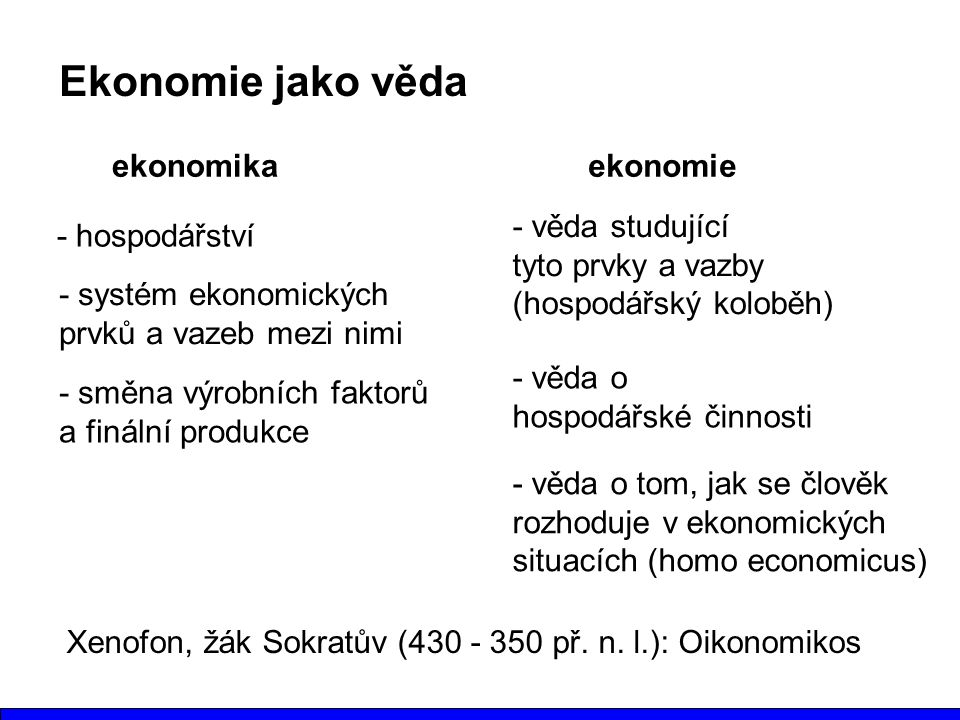 Ekonomie jako věda ekonomika ekonomie - věda studující
