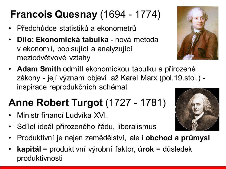 Francois Quesnay (1694 - 1774) Anne Robert Turgot (1727 - 1781)