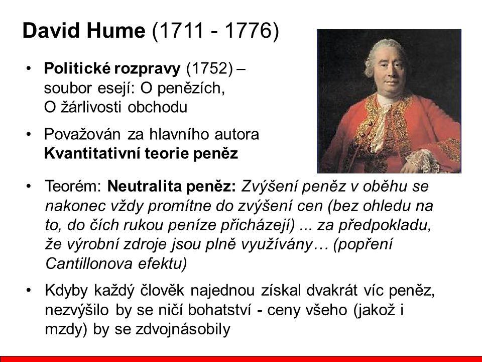 David Hume (1711 - 1776) Politické rozpravy (1752) – soubor esejí: O penězích, O žárlivosti obchodu.