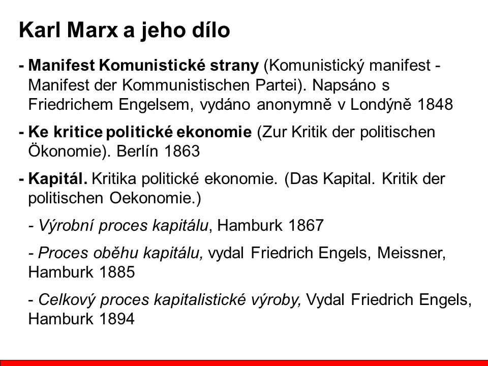 Karl Marx a jeho dílo