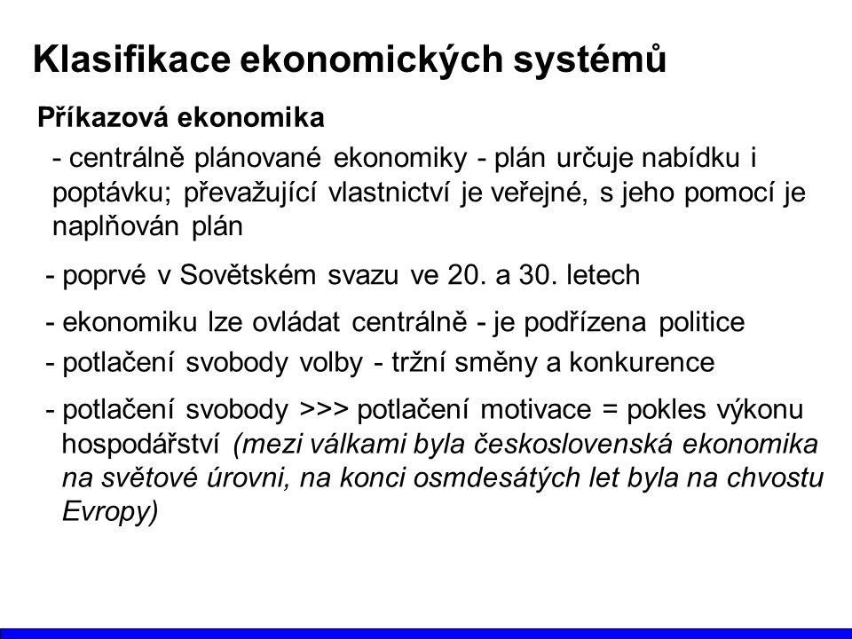 Klasifikace ekonomických systémů