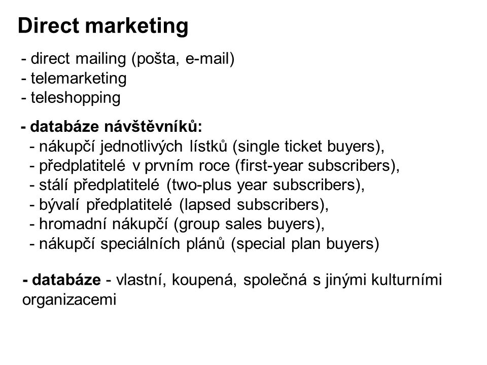 Direct marketing - direct mailing (pošta, e-mail) - telemarketing