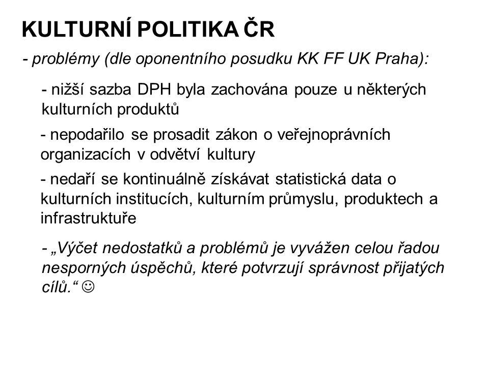 KULTURNÍ POLITIKA ČR - problémy (dle oponentního posudku KK FF UK Praha): - nižší sazba DPH byla zachována pouze u některých kulturních produktů.