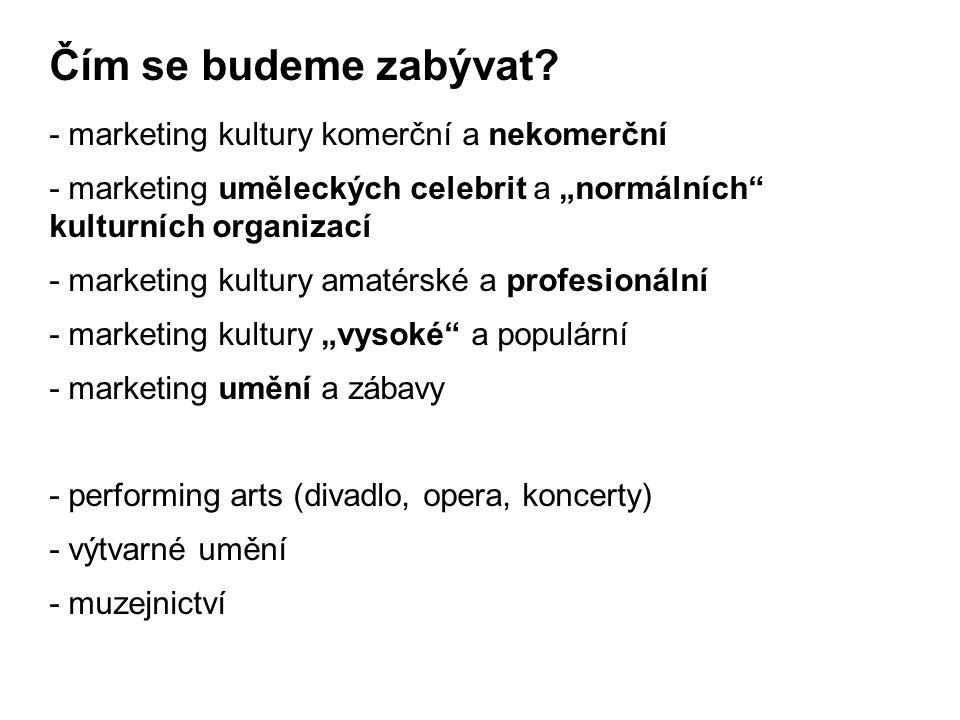 Čím se budeme zabývat - marketing kultury komerční a nekomerční