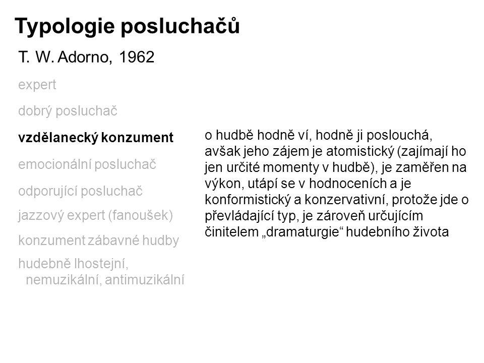 Typologie posluchačů T. W. Adorno, 1962 expert dobrý posluchač