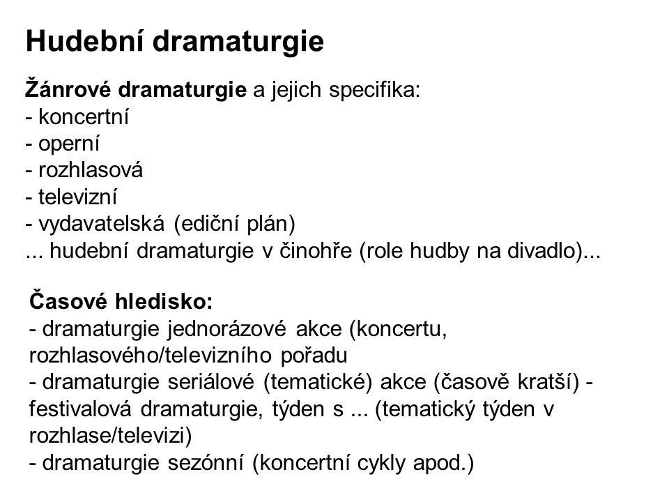Hudební dramaturgie Žánrové dramaturgie a jejich specifika: