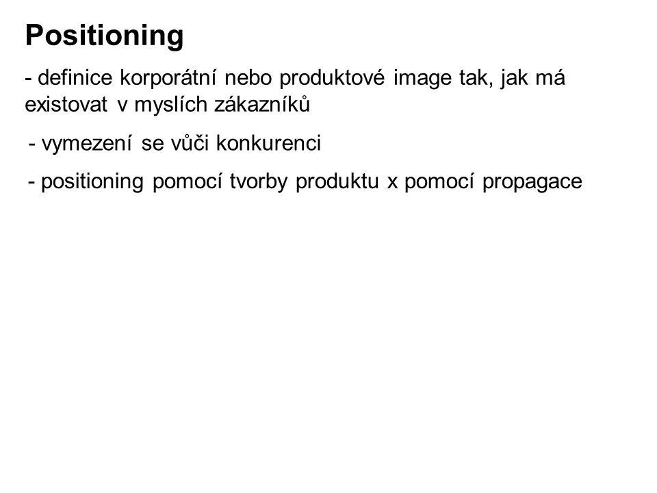 Positioning - definice korporátní nebo produktové image tak, jak má existovat v myslích zákazníků. - vymezení se vůči konkurenci.