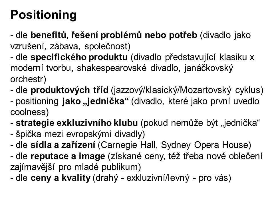 Positioning - dle benefitů, řešení problémů nebo potřeb (divadlo jako vzrušení, zábava, společnost)